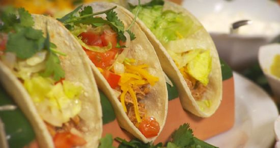 Chicken Tacos on Hard Shells w/ Refried Beans