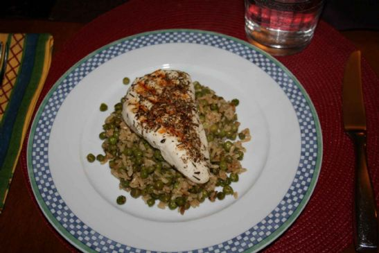 Herbed Grilled Chicken with Rice and Peas