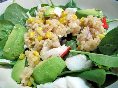 Crab & Baby Spinach Salad with Lemon Shallot Dressing
