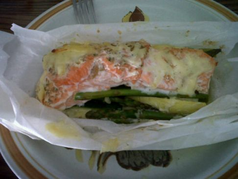Spring Veggies w Salmon in Parchment