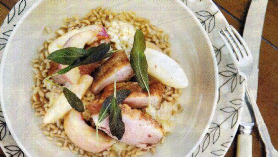 Duck, Fregola, Crispy Sage & Peach Salad