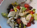 Chicken, black bean, avocado and corn salad