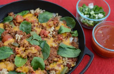 One-Skillet Cheesy Mexican Beef & Rice 
