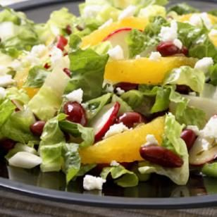 Romaine Salad with Orange, Feta & Beans