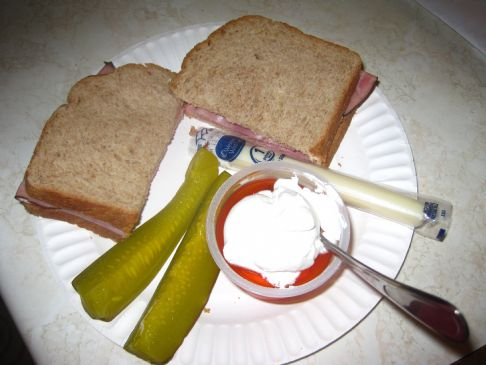 Ham Sandwich, Pickles, Cheese, Jello
