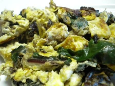 Scrambled Eggs with Beet Greens and Onions