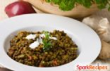 Middle Eastern Spinach Lentils with Yogurt