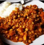 Sweet potato aubergine chickpea curry
