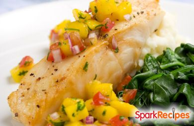 Seared Cod with Peach-Mango Salsa