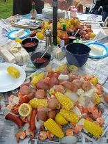 Beaufort Boil Party ~ Seafood Table