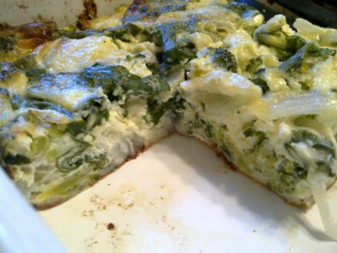 Crustless Onion, Spinach and Broccoli Quiche