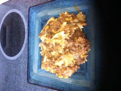 Sam's chicken and lentil pasta