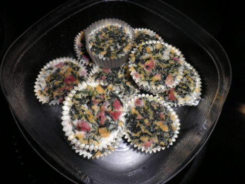 Ham and Spinach Mini Crustless Quiche
