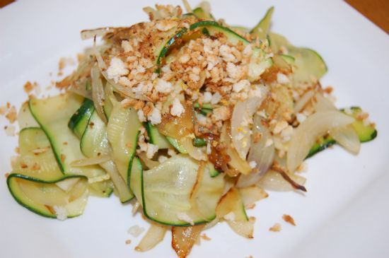 Zucchini Ribbons with Lemony Bread Crumbs