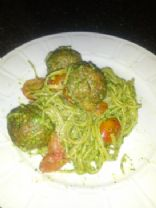 Whole Wheat pasta with Turkey Meatballs and pesto