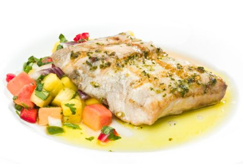 Grilled Perch with Citrus Salsa, Cilantro Sauce and Salsa Verde