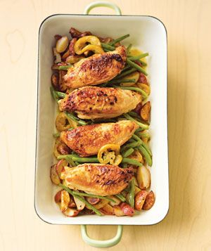 Real Simple's Pan Roasted Chicken with Lemon-Garlic Beans