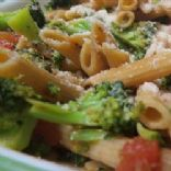 Shrimp penne with rapini