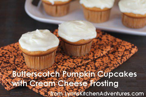Butterscotch Pumpkin Cupcakes with Cream Cheese Frosting