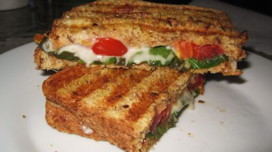 Tomato, Basil and Mozzarella Panini Sandwich