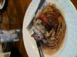 Giada de Laurentiis spaghetti with beef, smoked almonds, and basil - revamped
