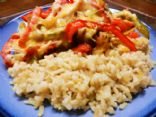 Cheesy Chicken & Peppers over Brown Rice