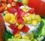 Tuna with capsi-corn salsa