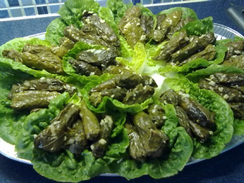 Palestinian stuffed grape leaves