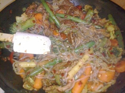 Gerri's Asian Spicy Beef and Noodle Stir Fry.