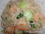 Stir Fry Rice Noodles with Baby Bok Choy and Shrimps