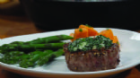 Peppercorn Steak with Herbed Blue Cheese 