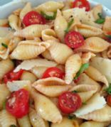 Pasta Shells w/ basil, tomatoes, olives and garlic