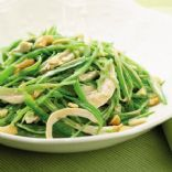 Poached Chicken and Pea Salad with Almonds and Edamame