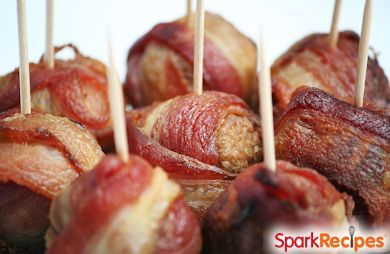 Slow Cooker Bacon-Wrapped Turkey & Apple Meatballs