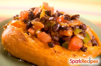 Cheesy Vegetarian Sweet Potato with Beans RECIPE