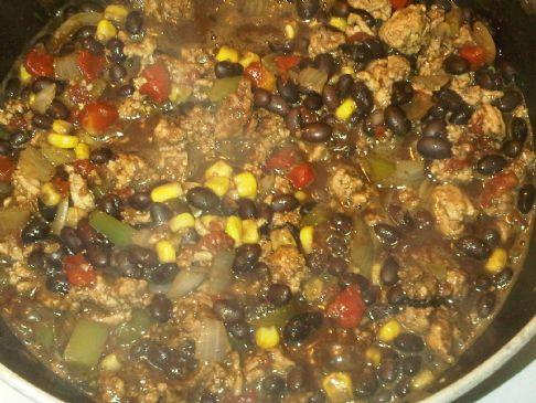 Mel's ground turkey black bean & corn chili