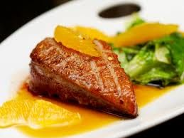 Pan-Seared Duck with Orange Pomegranate Sesame Sauce