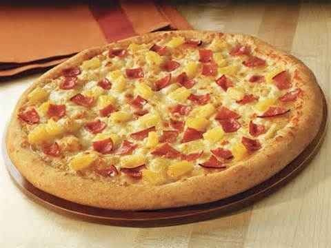 Ham pineapple pizza