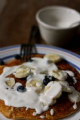 Single Serving Blueberry Pancake w/ Yogurt Maple Sauce