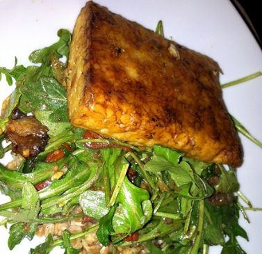 Lemon-Roasted Tempeh and Tomatoes with Arugula and Basil Farro