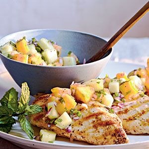 Cooking Light - Grilled Chicken with Cucumber-Melon Salsa