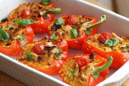Couscous and Chicken Feta stuffed Red Peppers