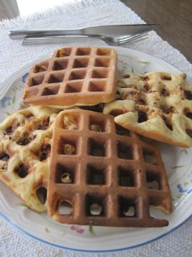 Salmon and sun dried tomato waffles