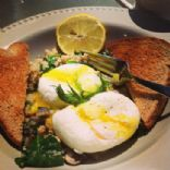 Poached Eggs with Salmon, Quinoa, Mushroom and Spinach