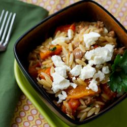 Orzo with Sausage and Peppers