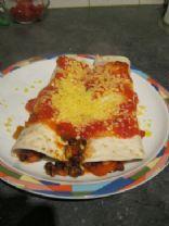 Black bean, bacon, and lentil burritos