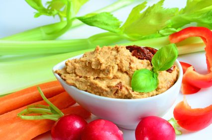 Basil and Sun-Dried Tomato Hummus
