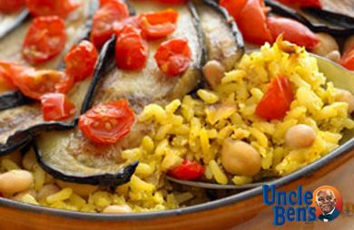 Vegetarian Oven-Baked Brown Rice with Eggplant
