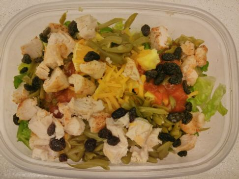 Chicken Salad (w/Chicken, Green Beans, Cheddar Cheese Orange, Salsa, Raisins)