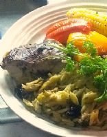 Mediterranean Stuffed Chicken with Orzo and Roasted Vegetables